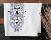 Wolf Totem - Hand Printed Flour Sack towel Wolf Wolves Kitchen Dish Towel - by Bark Decor - barkdecor