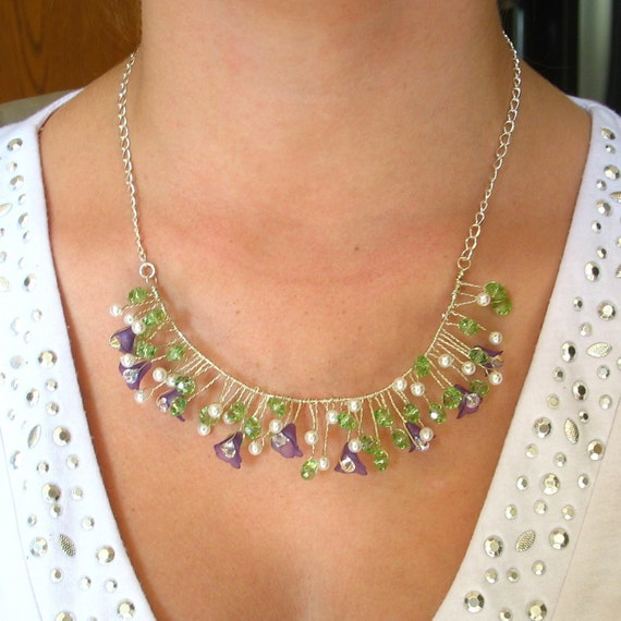 Purple Flower Beaded Wire Necklace Lucite Flower Jewelry Green Crystals White Pearls Floral Vine Handmade Jewellery
