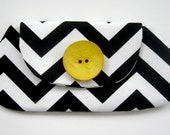 Black and White Clutch - Bridesmaid Gift Chevron Bag Summer Fashion