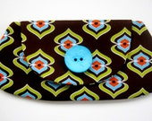 Brown Turquoise and Chartreuse Clutch - Primitive Print