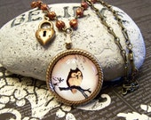 Brown Owl Cameo Necklace with Heart Keyhole Charm, Fall Autumn Pendant Necklace Set with Earrings - florasfancy