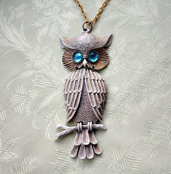 Awesome Large Owl Pendant Necklace with Aqua Eyes