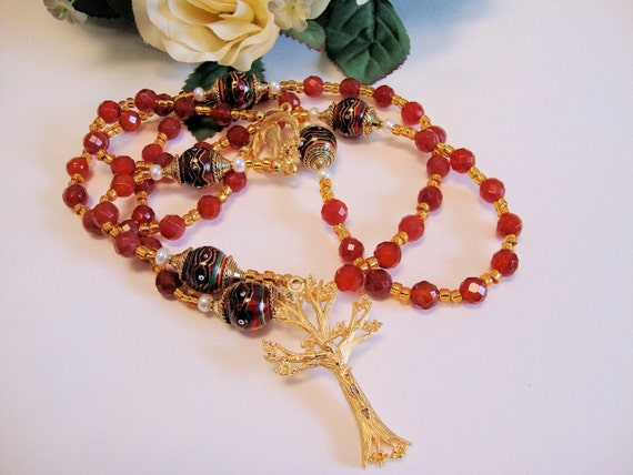 Red Catholic Rosary of Faceted Carnelian