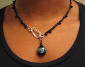 Black and Light Blue Speckled Beaded Hook Clasp Necklace Choose Length