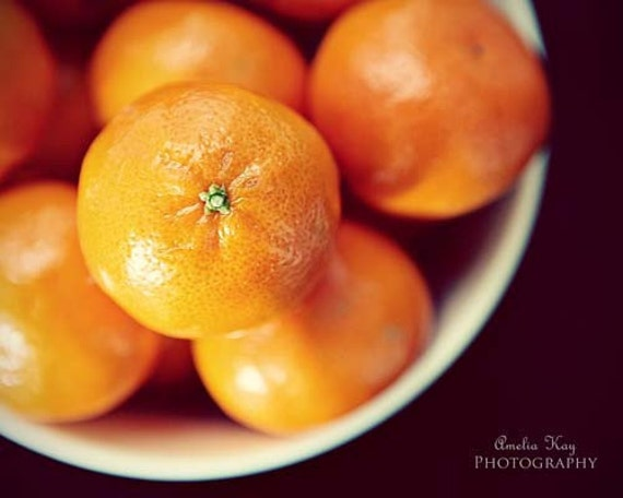 Bowl of Oranges II - Fine Art Foodie Photography 5x7 fruit spring summer dark rustic white black citrus tangerine tango