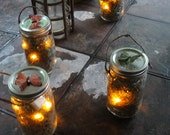PERFECT FOR HALLOWEEN Orange Color led Firefly Laterns-Quart Size Battery Operated Mason Jars-Set of 4 - simplykacie
