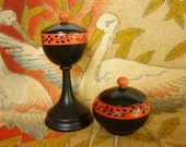 20s / 30s Art Deco Dresser Set  Rouge / Powder  turned painted wooden ware - decotodiscovintage