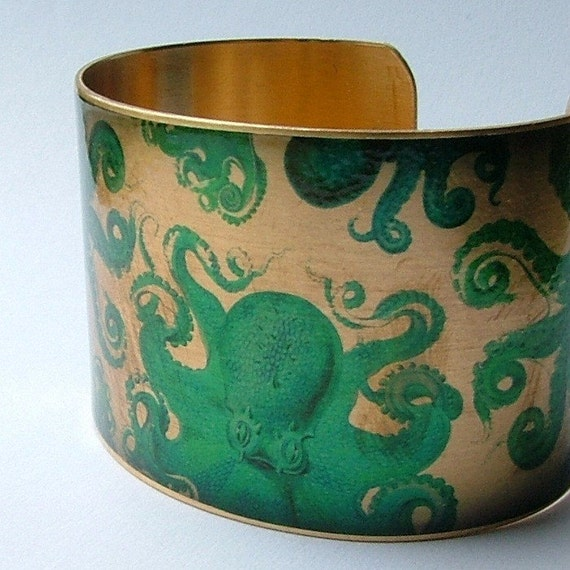 Octopus Jewelry Brass Cuff Bracelet with Mythical Kraken Sea Monster in Turquoise