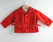 Vintage 1950's Toddler Boy Jacket - RED Button Up (2T) - HartandSew