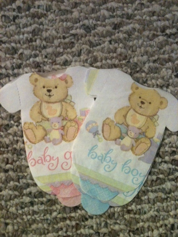 Teddy bear baby shower onesie napkins or decoration.   Pack of 30.  Choose boy or girl. Pink or blue.