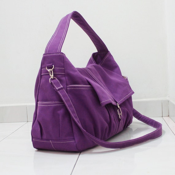 New Year Sale - Purple Canvas Women Shoulder Bag, Messenger bag, Tote, Hobo, Diapers Bag, School Bag, Handbag - KINIES CLASSIC