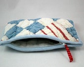 Red White and Blue Quilted Zipper Pouch