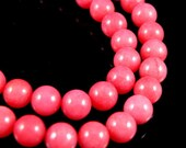 8mm Coral Red Round Jade Beads, half strand