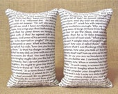 Pride and Prejudice Chapter One - Jane Austen Bookends - Shelf Pillows - TwoStrayCats