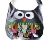 GREY  Owl Tote Bag, Purse - Animal, Bird, Handmade - Cute, Kitschy and Ready to Ship - neca84