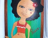 """Penny thinks being a Brown girl is cool"""" - wood painting"""