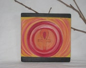 Ankh Sunrise Wood Painting-  a piece of a  Wooden Quilt painting