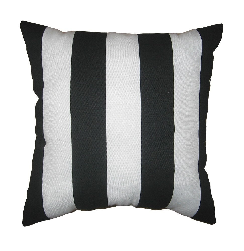 May FlowersSale Black and White Stripe by LandofPillowsDotCom