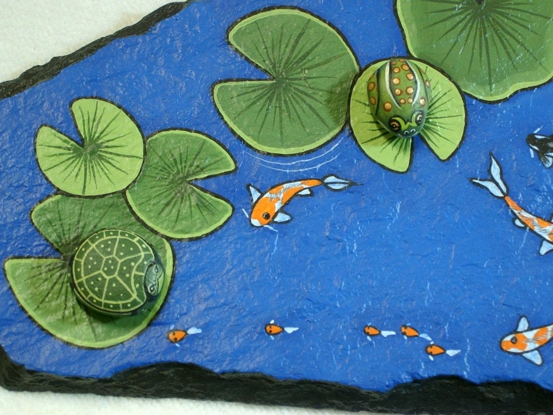 Large Koi Pond rock garden decor hand painted by RockArtiste