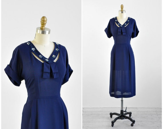 1940s dress / 40s dress / Navy Blue Dress with Beaded Crossover Collar