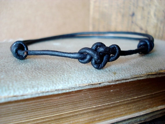Leather Eternity Knot Anklet