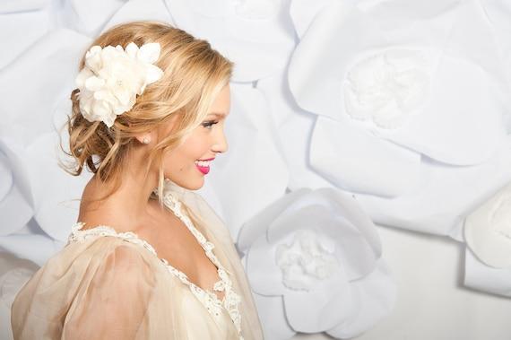 Ivory double flower fascinator - Elvira