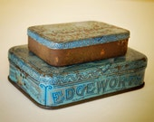 vintage Edgeworth tins, set of 2, Extra High Grade Plug Slice with great patina - AtticAntics