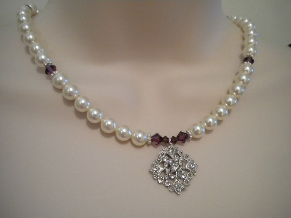 Bridal Pearl Necklace and Earrings Set, Bridesmaid Necklace Earring Set (you pick color) The Arlene