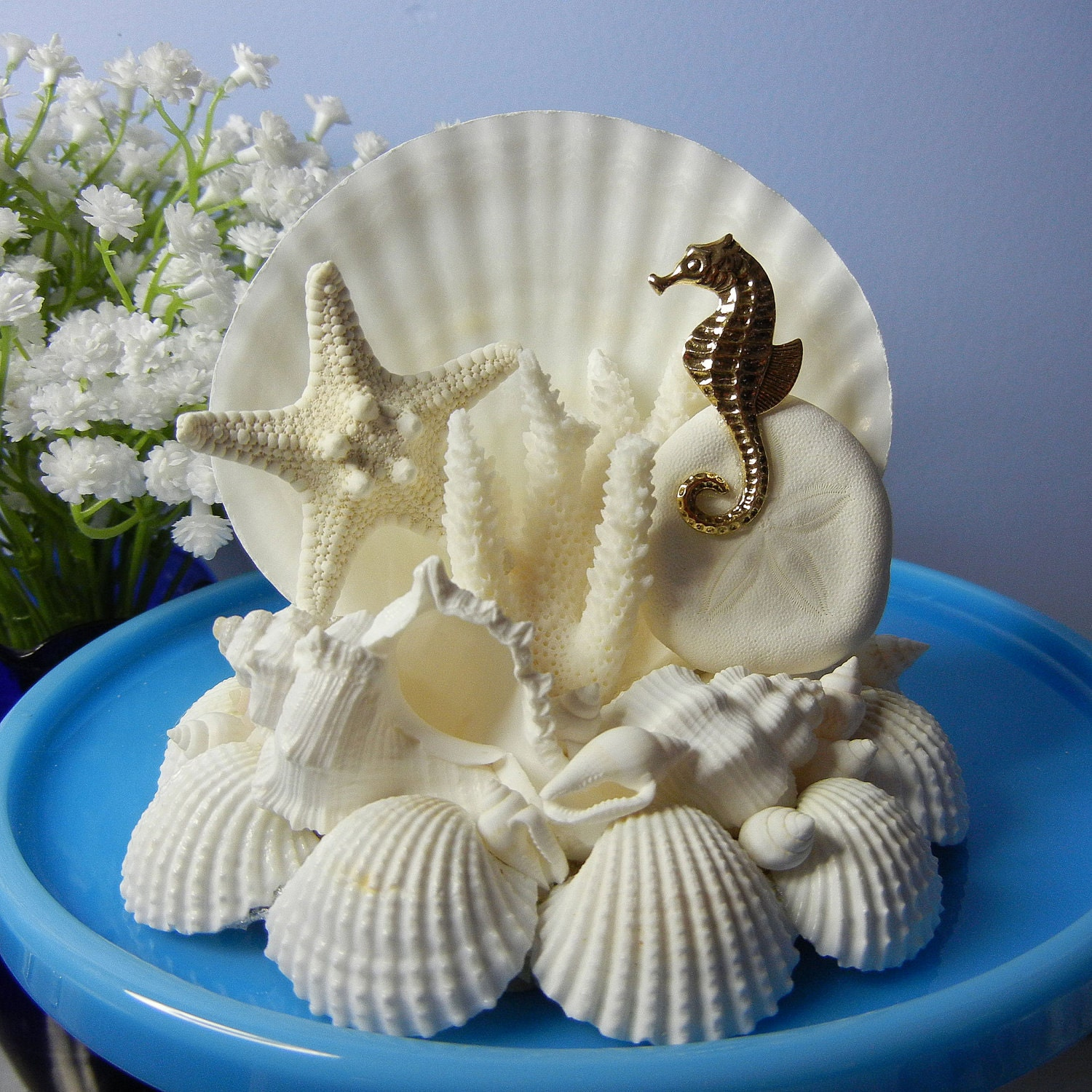 seashell wedding cake toppers