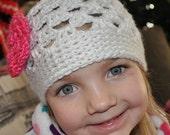 Custom Handmade Crochet Spring Girly Hat with Flower