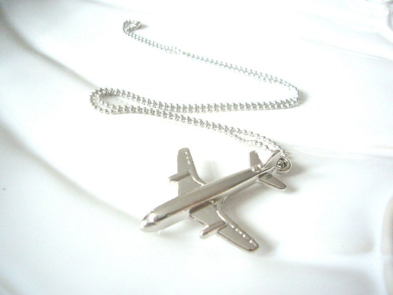 Sliver Airplane Charm Necklace