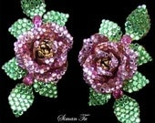 Vintage Siman Tu Rose Earrings 1990s Clipbacks - AntiquingOnLine