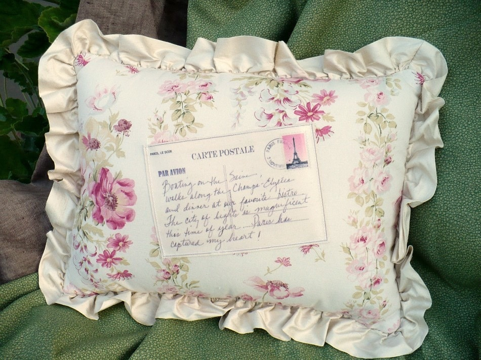Shabby Chic Paris pillow vintage floral by TwoSparrowStudio