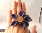 One of a kind polymer clay flower,  ring - purple with copper coin ooak - TrinketsOnline