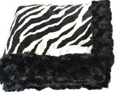 Minky Baby Blanket in Black Minky with Black and White Zebra Satin - Chicmonkeybb