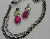 Black and Silver Chain with HOT Pink Focal Piece Necklace Set