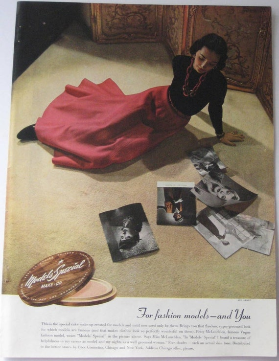 Betty McLauchlen Super Model  Vogue 1943  Ad  for Models Special Makeup