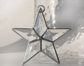 Beveled Glass Star Ornament Stained Glass Star Ornament Decoration Silver Patina