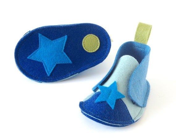 Blue baby shoes Pepe Stars girls & boys booties, infant crib shoes, unisex house slippers