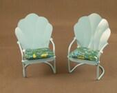 Miniature Garden Chairs, Retro Paisley - InsideOutMinis