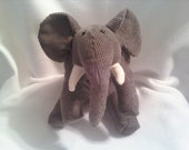 Gray Corduroy Elephant Soft Toy - lindaskraftykreation