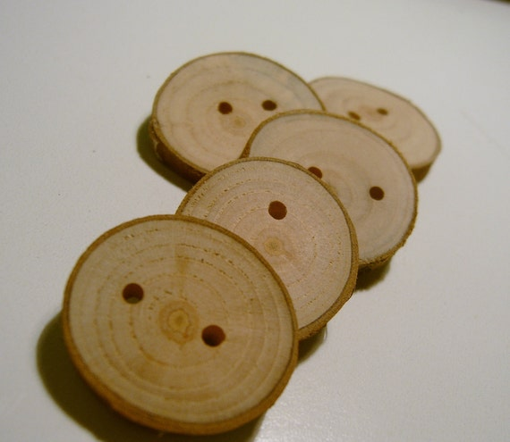Wooden  Buttons Handmade Cherry Wood Tree Branch Slice 25