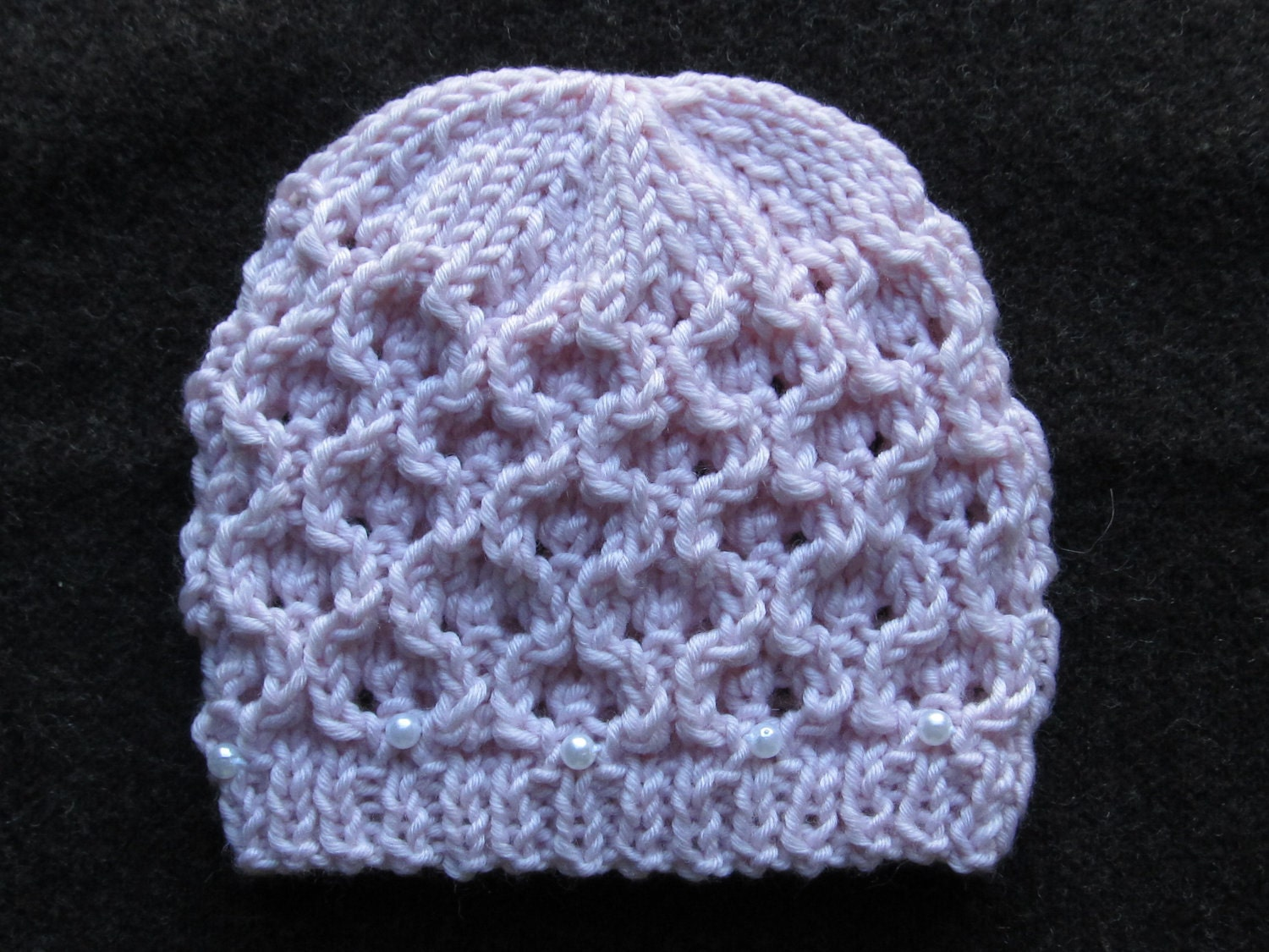 Number 51 Knitting Pattern Hourglass Eyelet Hat in Sizes 0-6 months, ...