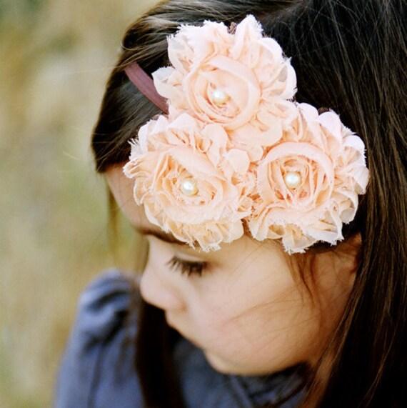 SOPHIA - Peach shabby rose trio headband