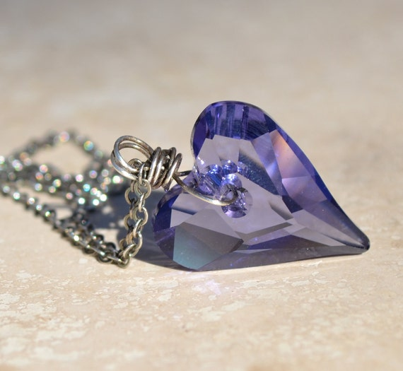 Purple swarovski heart necklace by SplendorVendor