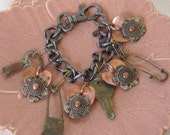 Charm Bracelet with Vintage Diaper Pins, Keys and Charms - NellsBelles