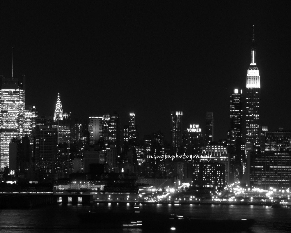 Night City Skyline Black And White New York City Skyline Night
