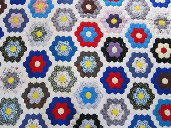Vintage,  antique quilt,  30s 40s,  Grandmothers Garden, hexagons,  vivid and fresh