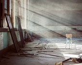 Forgotten - 8x12 Fine Art Photography Print - abandoned urban decay chair school classroom light photograph Detroit - riotjane