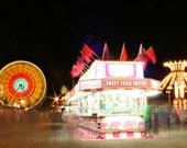 The Midway, At Night - 5x7 Fine Art Photography Print - fair carnival lights fun LongExposure motion photograph  - riotjane
